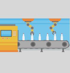 Robotic arm working on conveyor belt with bottles vector