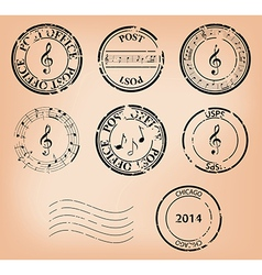 Set - music grungy post stamps vector
