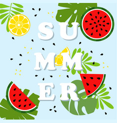 summer card with fruits vector image
