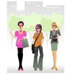 Three women in a big city vector image