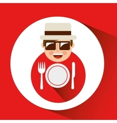 Tourist man with camera and restaurant symbol vector