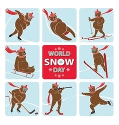 World snow daybear plays winter sport vector