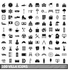 100 villa icons set simple style vector