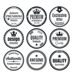 Nine scalable vintage badges vector