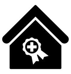 Certified clinic building flat icon vector