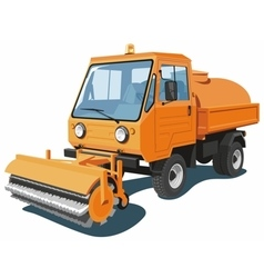 Orange street sweeper vector