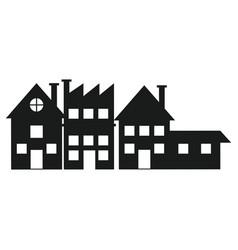 silhouette house building factory facade vector image