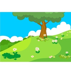 Hill with tree lanscape vector