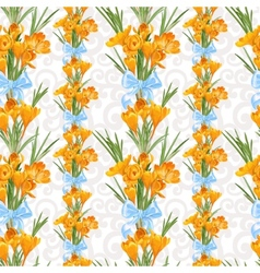 Seamless backround from spring yellow crocuses vector
