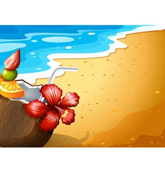 A beach and a refreshing drink vector
