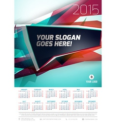 Calendar 2015 template week starts sunday vector
