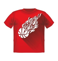Retro sport flame mascot t-shirt with a basketball vector
