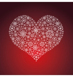 White and red valentine hearth from snowflakes vector
