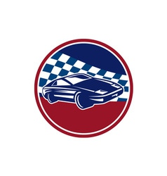 Sports Car Racing Chequered Flag Circle Retro vector image