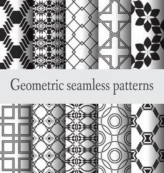 set geometric seamless pattern monochrome vector image