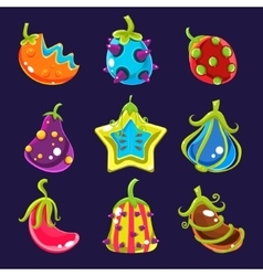 Set colorful fantasy fruits vector
