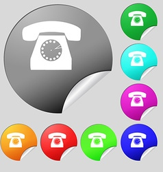 Retro telephone icon symbol set of eight multi vector