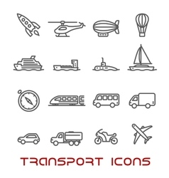 Thin line transportation icons set vector