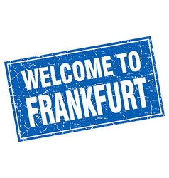 Frankfurt blue square grunge welcome to stamp vector