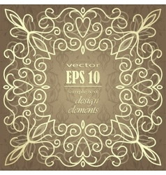 Gold vintage card with floral patterns vector