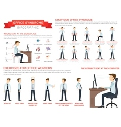 Flat for office syndrome vector