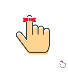 Reminder finger icon with red string bow vector image