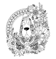 Zen Tangle Dog in round frame vector image