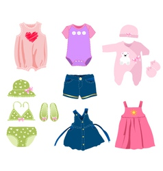 Baby girl elements clothes vector image