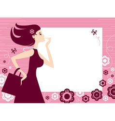 banner with shopping girl vector image vector image