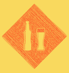 Beer bottle sign red scribble icon vector