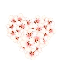 Bouquet sakura pink flowers in shape heart vector image vector image