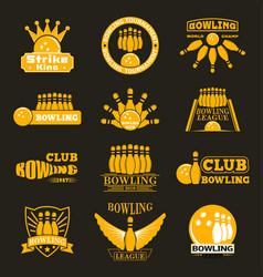 bowling logo emblems vector image vector image