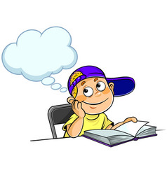 boy thinking with a book vector image