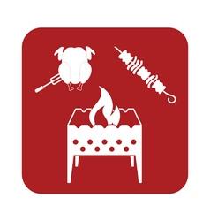 Brazier kebab and chicken icon vector