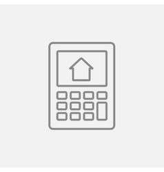 Calculator with house on display line icon vector image vector image