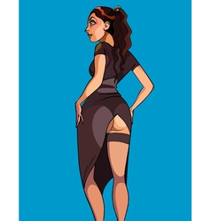 cartoon woman in a sexy long dress vector image