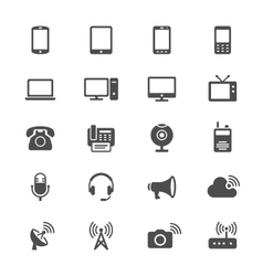 Communication device flat icons vector