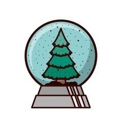 crystal ball with christmas tree inside vector image