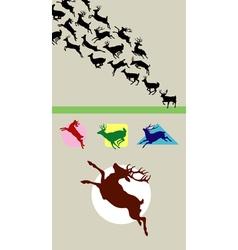 Deer running silhouettes vector
