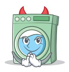 Devil washing machine character cartoon vector