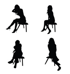 girl elegance silhouette sitting in black color vector image vector image