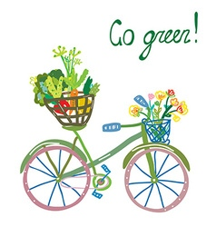 Go green eco card with bicycle and organic food vector image