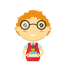 happy fun schoolboy with books vector image