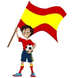 Happy soccer fan holds spanish flag vector