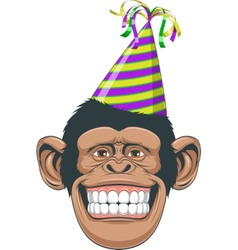Head chimpanzee in a cap vector image vector image