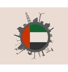 Industrial silhouettes unitad arab emirates flag vector