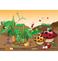 Insects family on the ground and tree vector image vector image