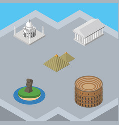 Isometric travel set of coliseum india mosque vector