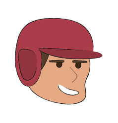 Man playing baseball with helmet sport or fitness vector