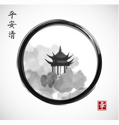 Pagoda temple and forest trees in black enso zen vector